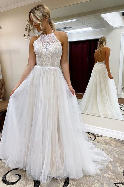 Halter Neck A-line Beach Wedding Dress, Fashion Custom Made Bridal Dress YDW0079