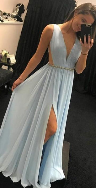 V-neck Long Prom Dress With Slit Custom-made School Dance Dress Fashion Graduation Party Dress YDP0470