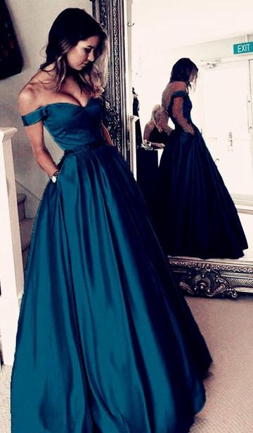 Off the Shoulder A-line Long Prom Dress Custom-made School Dance Dress Fashion Graduation Party Dress YDP0446