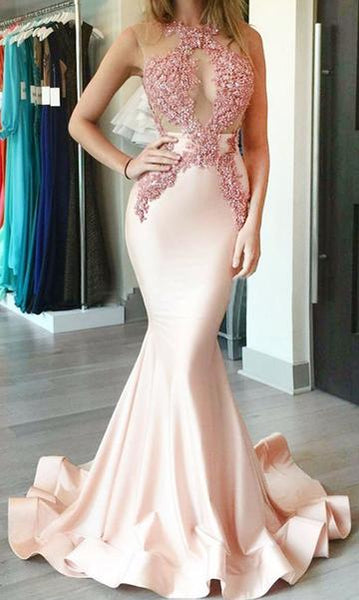Sexy Mermaid Long Prom Dress with Applique Fashion Formal Dress YDP0038