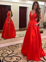 Load image into Gallery viewer, Sexy A-line Red Long Prom Dress School Dance Dress Fashion Winter Formal Dress YDP0313