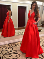 Sexy A-line Red Long Prom Dress School Dance Dress Fashion Winter Formal Dress YDP0313