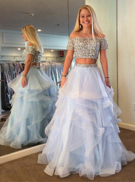 Two Pieces Prom Dress With Beading Long Dress For Graduation Custom-made School Dance Dress  YDP0642