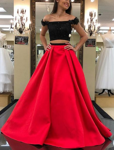 Two Pieces Black/Red Mermaid Long Prom Dress School Dance Dress Fashion Winter Formal Dress YDP0323
