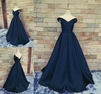 Off the Shoulder A-line Long Prom Dress with Lace Up back School Dance Dress Fashion Winter Formal Dress YDP0304