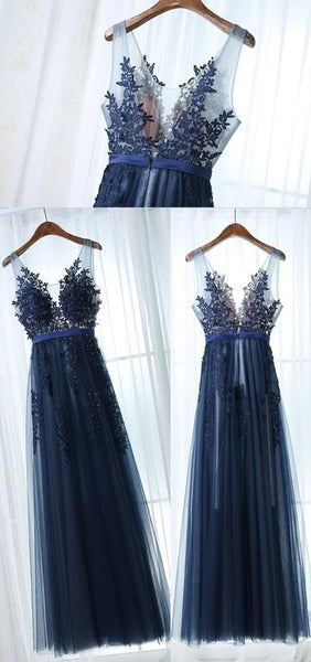 V-neck A-line Long Prom Dress with Applique and Beading Sweet 16 Dance Dress Fashion Winter Formal Dress YDP0197