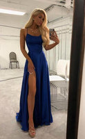 Simple A-line Long Prom Dress with Slit Sweet 16 Dance Dress Fashion Winter Formal Dress YDP0208