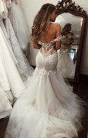 Off Shoulder Tulle/Lace Wedding Dress,Mermaid Fashion Bridal Dresses,Custom Made Sexy Wedding dress YDW0041