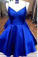 Royal Blue Satin Homecoming Dress Custom Made Winter Dance Dress Fashion Short Prom Dress YDP0078
