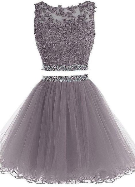 Two Pieces Grey Short Homecoming Dress Custom Made Winter Dance Dress Fashion Short Prom Dress YDP0096
