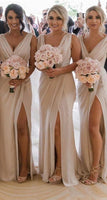Deep V-neck Sexy Long Bridesmaid Dress,Custom Made Wedding Party Dress YDB0031