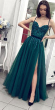 Load image into Gallery viewer, A-line Prom Dresses With Applique and Beading Long Prom Dresses 8th Graduation Dress School Dance Winter Formal Dress YDP1023