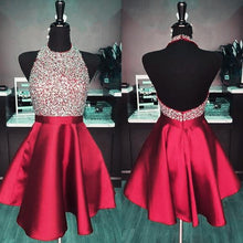 Load image into Gallery viewer, Halter Neck Backless Homecoming Dress with Beadeing Custom Made Burgundy Winter Dance Dress Fashion Short Prom Dress YDP0101