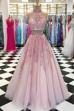 Load image into Gallery viewer, 2021 Two Pieces Long Prom Dresses with Appliques and Beading ,Formal Dresses YPS1056