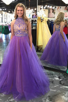 Two Pieces Beaded Long Prom Dresses Custom-made School Dance Dress Fashion Graduation Party Dress YDP0527