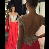 Backless A-line Beaded Long Prom Dress Custom Made Formal Dress Fashion Winter Dance Dress YDP0135