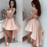 Sweetheart High-Low Long Prom Dress With Applique School Dance Dress Fashion Winter Formal Dress YDP0291