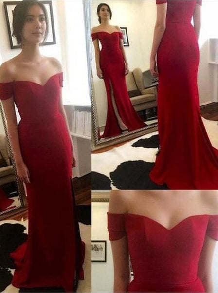 Off the Shoulder Simple Long Prom Dress With Slit Custom Made Formal Dress Fashion Winter Dance Dress YDP0172