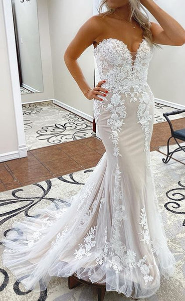 2021 Sweetheart Mermaid Wedding Dress with Appliques Fashion Custom Made Bridal Dress YDW0099