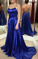 Royal Blue Simple Long Prom Dress Custom Made Formal Dress Fashion Winter Dance Dress YDP0125