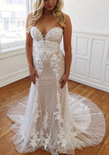 Load image into Gallery viewer, 2021 Sweetheart Mermaid Wedding Dress with Appliques Fashion Custom Made Bridal Dress YDW0099