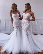 Load image into Gallery viewer, 2021 Sweetheart Mermaid Wedding Dress with Appliques Fashion Custom Made Bridal Dress YDW0102