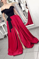 Off Shoulder Long Prom Dress with Slit School Dance Dress Fashion Winter Formal Dress YDP0336