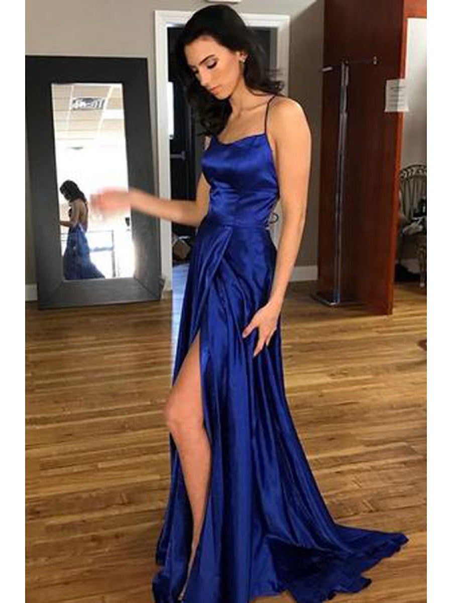 Royal Blue Sexy A-line Long Prom Dress With Slit School Dance Dress Fashion Winter Formal Dress YDP0279