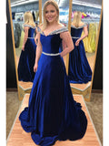 Off the Shoulder A-line Long Prom Dress With Beading School Dance Dress Fashion Winter Formal Dress YDP0281