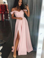 Off the Shoulder Long Prom Dress with Slit Sweet 16 Dance Dress Fashion Winter Formal Dress YDP0209