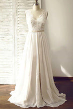 Load image into Gallery viewer, V-back A-line Lace/Chiffon Beach Wedding Dress Fashion Custom Made Bridal Dress YDW0006