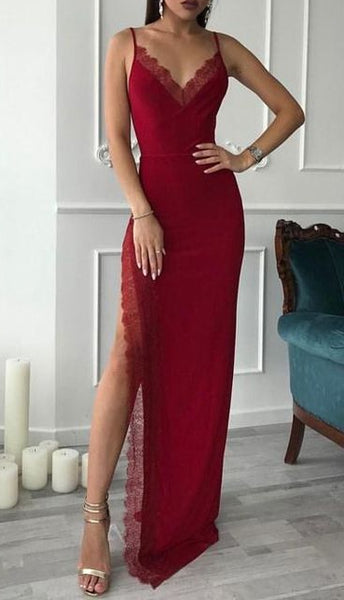 Sexy Long Prom Dress With Slit School Dance Dress Fashion Winter Formal Dress YDP0294