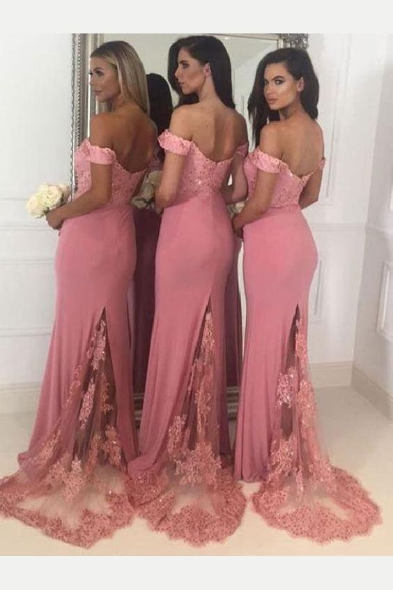 Off Shoulder Mermaid Long Bridesmaid Dress,Custom Made Wedding Party Dress YDB0040