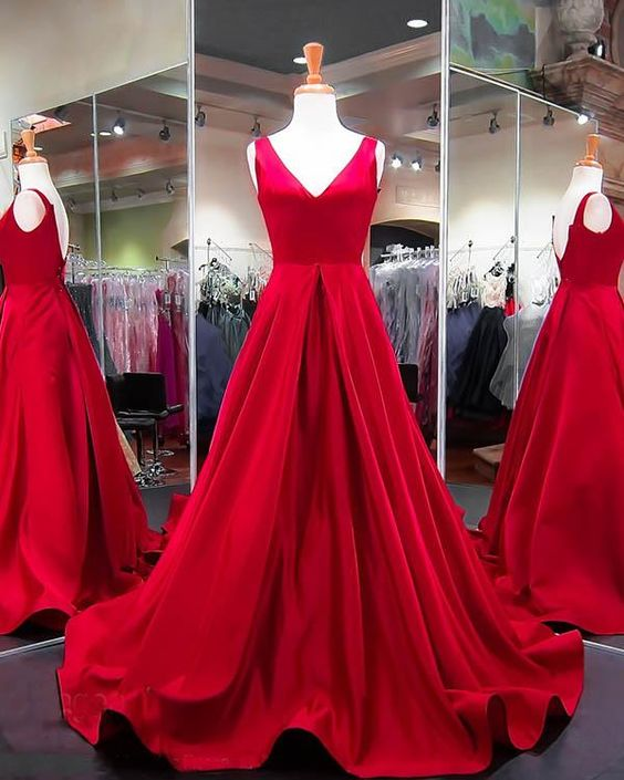 V-neck A-line Long Prom Dress School Dance Dress Fashion Winter Formal Dress YDP0238