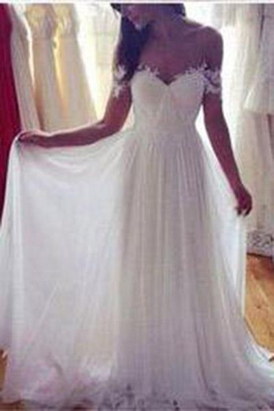 Off the Shoulder A-line Beach Wedding Dress Fashion Custom Made Bridal Dress YDW0008