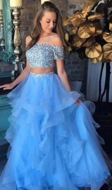 Off Shoulder Two Pieces Prom Dress With Beading Long Dress For Graduation Custom-made School Dance Dress  YDP0644