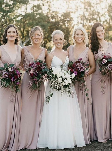 Deep V-neck Long Bridesmaid Dress,Custom Made Future Wedding Formal Dress YDB0066