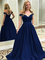 Off the Shoulder A-line Long Prom Dress Custom-made Dance Dress Fashion Winter Formal Dress YDP0405