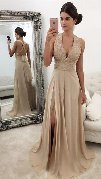 2019 Deep V-neck Long Prom Dress With Beading Custom-made School Dance Dress Fashion Graduation Party Dress YDP0442