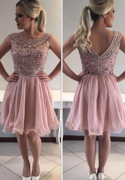 Short Prom Dress With Beading Fashion Homecoming Dress Custom-made School Dance Dress  YDP0672