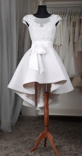 Popular Short Wedding Dress, Appliqued Wedding Reception Bridal Dress YDW0030