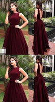 Backless Burgundy Long Prom Dress Sweet 16 Dance Dress Fashion Winter Formal Dress YDP0196