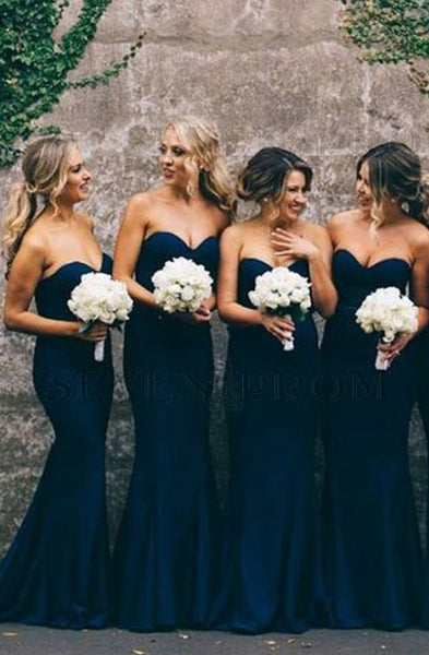 Strapless Mermaid Long Bridesmaid Dress,Custom Made Wedding Party Dress YDB0042