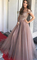 Off the Shoulder Long Prom Dresses With Beading Custom-made School Dance Dress Fashion Graduation Party Dress YDP0539