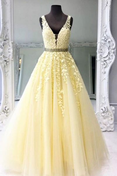 2021 Ball Gown Long Prom Dresses with Appliques and Beading ,Formal Dresses YPS1057