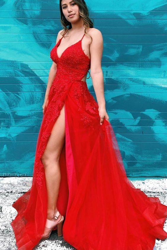 V-neck A-line Long Prom Dresses with Appliques ,Sweet 16 Dresses ,Formal Dresses YPS1070