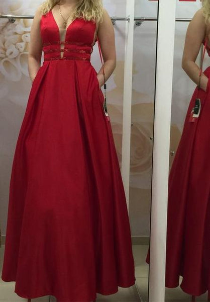 V-back Unique Long Satin Prom Dress Fashion Wedding Party Dress YDP0023