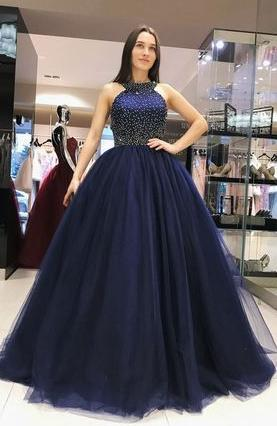 2019 Ball Gown Long Prom Dress With Beading Custom-made School Dance Dress Fashion Graduation Party Dress YDP0443