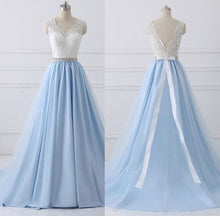 Load image into Gallery viewer, V-neck Light Blue Long Prom Dress Custom-made School Dance Dress Fashion Graduation Party Dress YDP0594