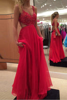 Sexy A-line Long Prom Dress With Beading School Dance Dress Fashion Winter Formal Dress YDP0276